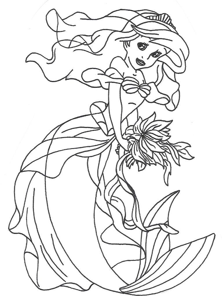 Disney princess ariel by goude lineart on deviantart for Princess coloring pages ariel