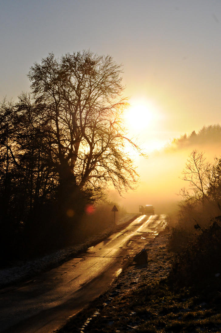 Sunset through the fog by JaymeeLS
