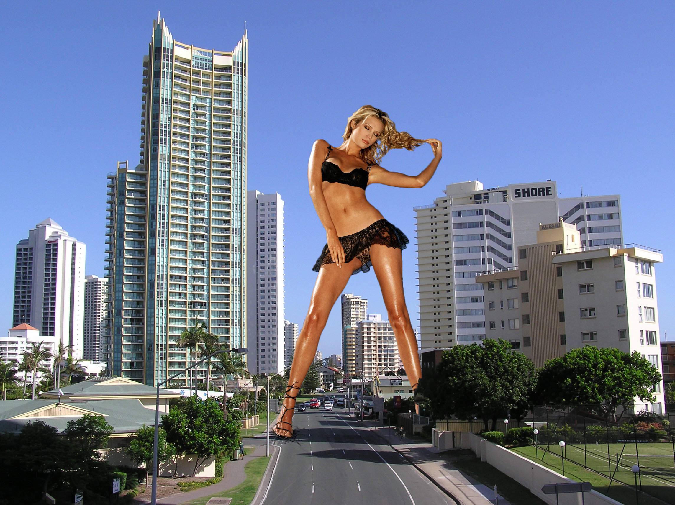Giantess nude in the city porn comic