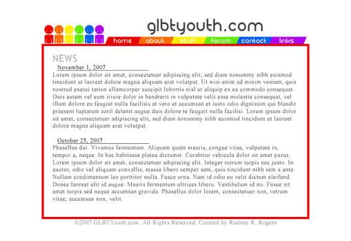 GLBTYouth.com Site Idea A