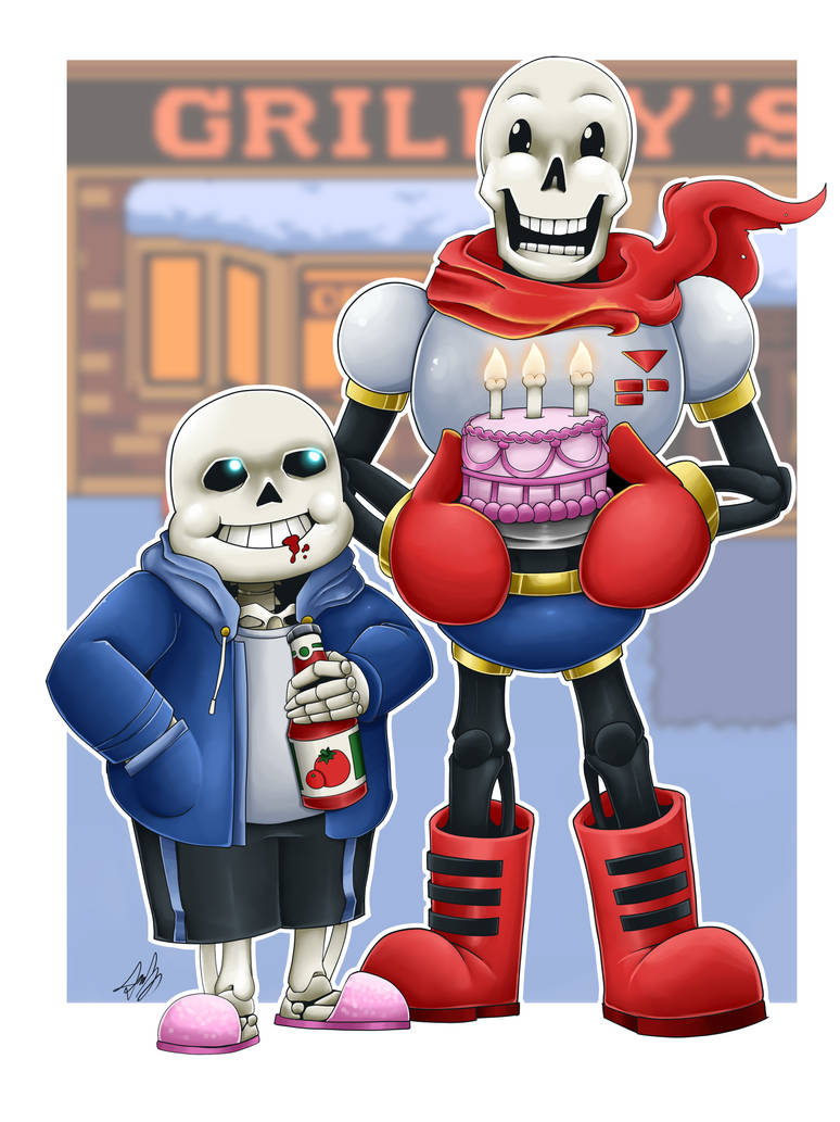 Commish: Skelebros Celebrate 3 Years of UNDERTALE by Blabyloo229