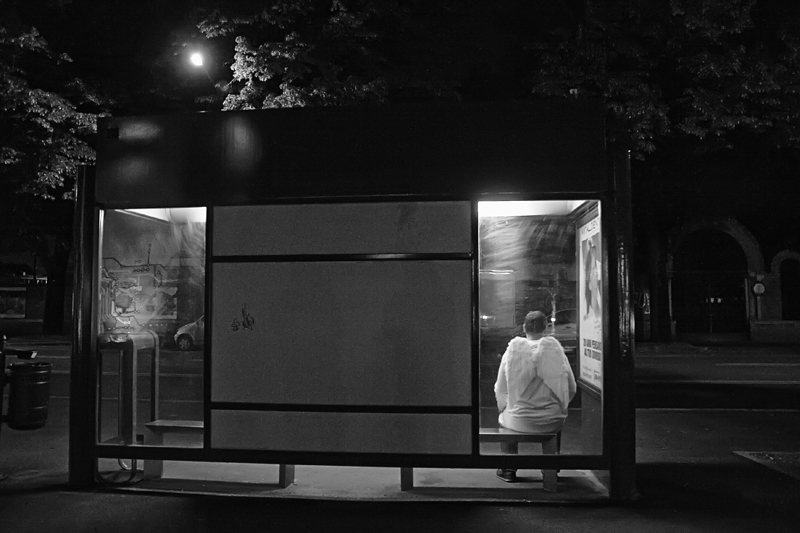 Angel at the Bus Stop by myraincheck