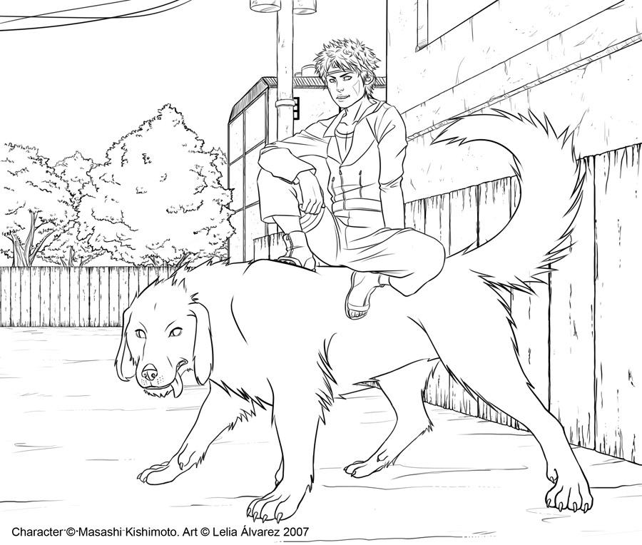 Kiba and Akamaru lineart by Lelia