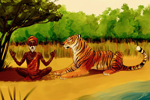 The Sadhu and the tiger