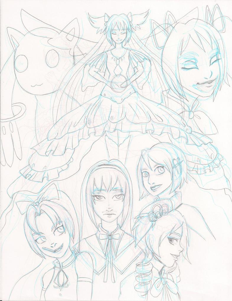 Madoka Magica Print Sketch by Fallen-Lunar-Shaman