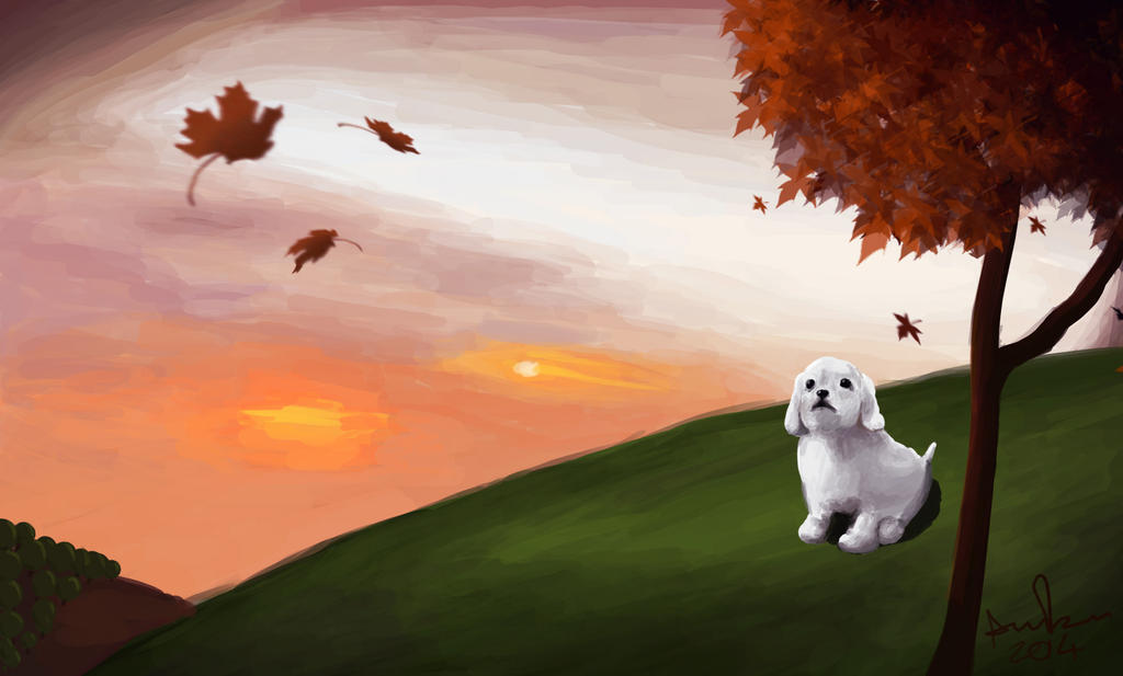 Dog On A Grassy Hill by LittleAngel1