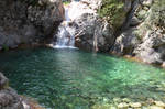 Waterfall of Bavella River in Corsica Island