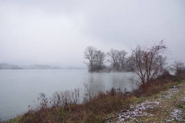 RHONE River with wintersky and small fog by A1Z2E3R