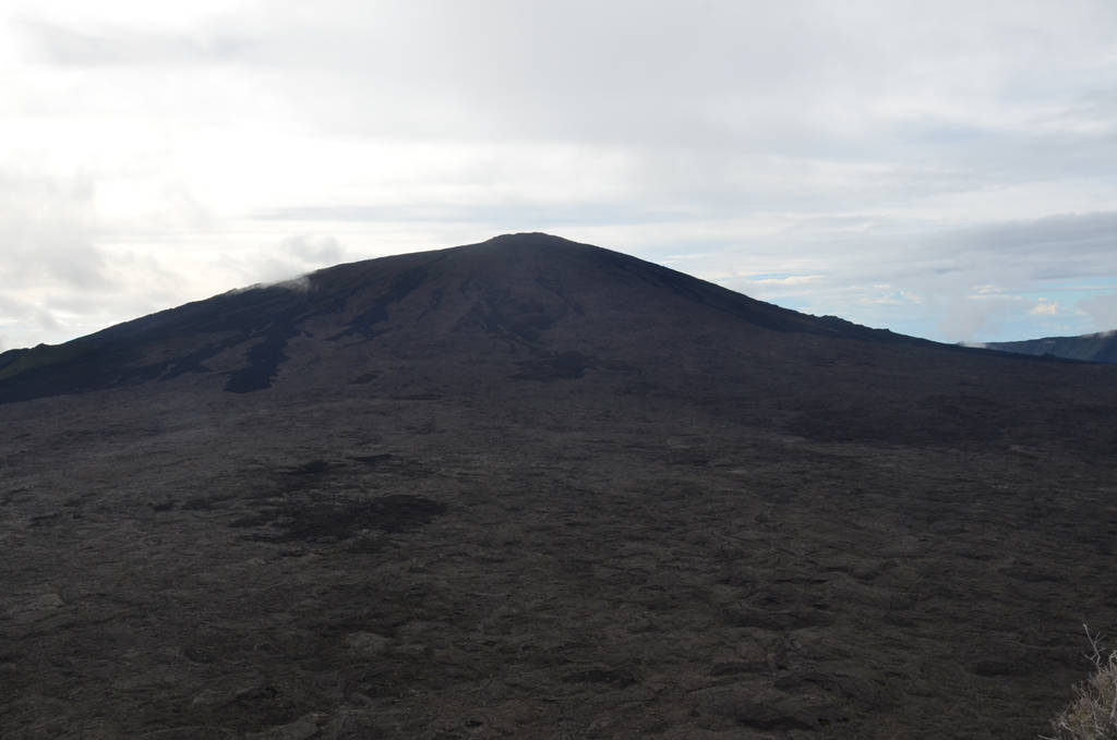 Fournaise Piton volcano and its grey lava flows by A1Z2E3R
