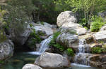 Small river and waterfalls in Corsica