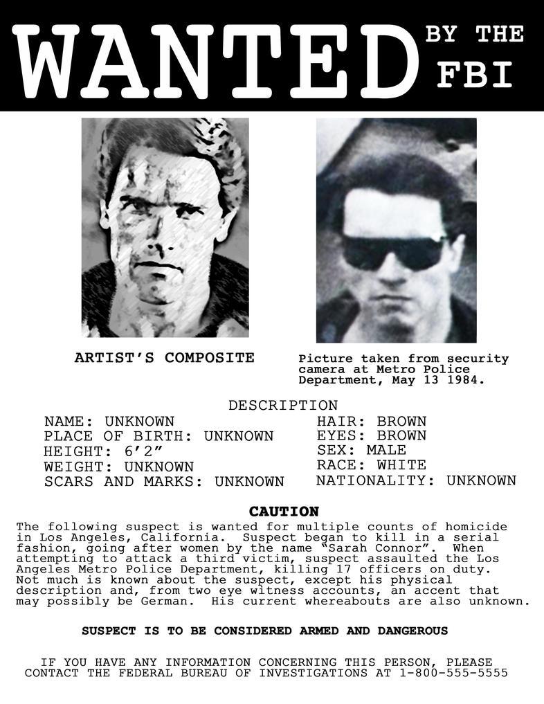 Terminator Wanted Poster v2.0 by codebreaker2001 on DeviantArt