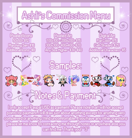 My New Commission Menu 2018 by Kiss-the-Iconist