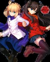 [Render] Saber and Rin Tohsaka by Kiddblaster