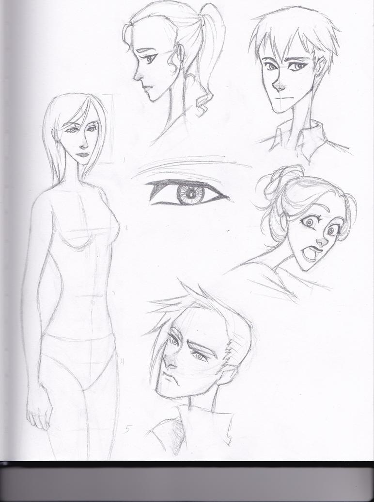 Character Design Sketchbook : Experimental character design sketchbook page by ayerya on