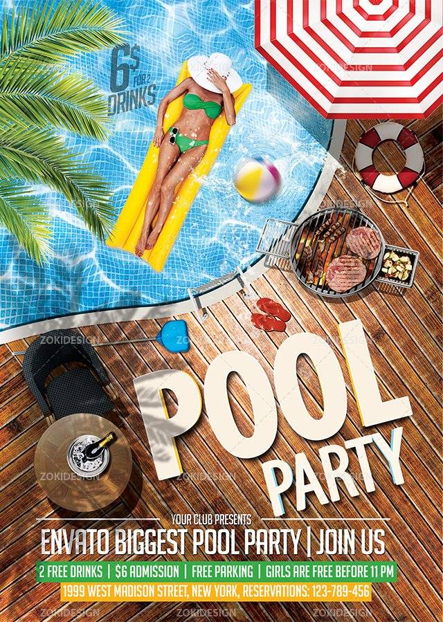 Elegant Pool Party Flyer Template By Zokidesign ...