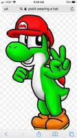 Yoshi wearing a Mario Hat