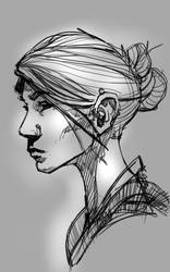Black and White Portrait by LW-Sketch