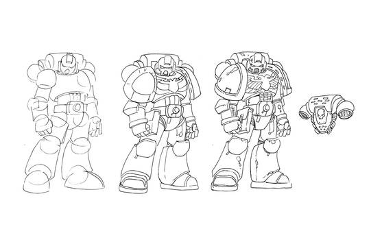 Drawing a Space marine by NachoMon