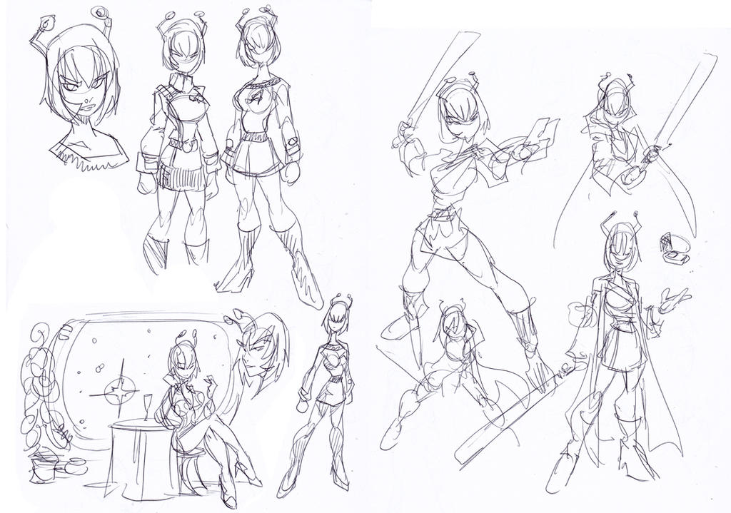 Andorian Girl Sketches by NachoMon