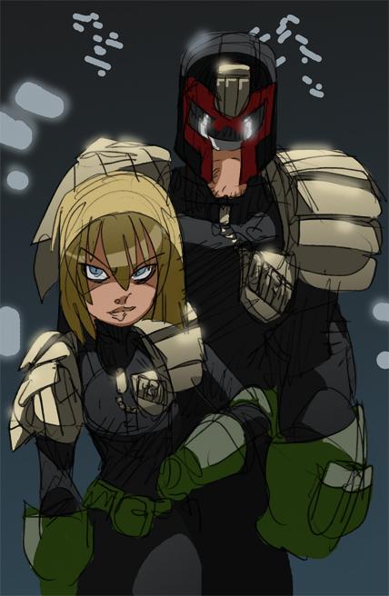 Dredd and Anderson Quick color sketch by NachoMon