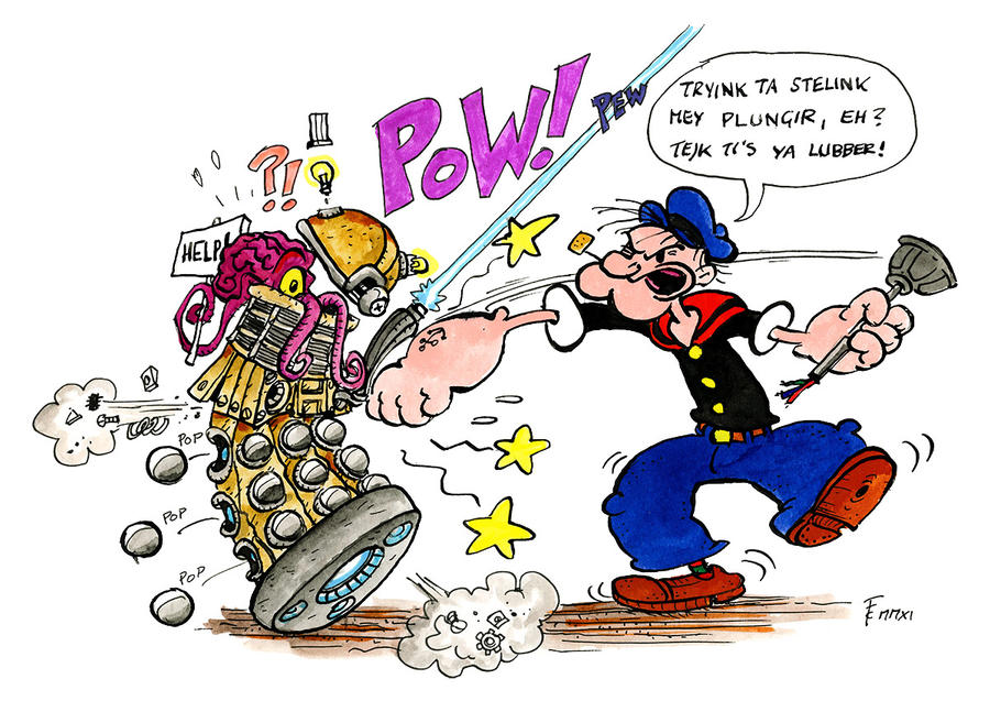 Popeye vs Dalek by Clone-Artist