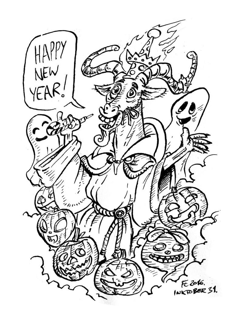 Inktober 31 - Best Wishes From the Horned God by Clone-Artist