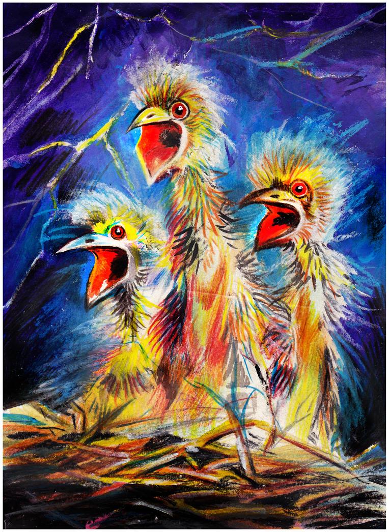 crazy nestlings by ledaryuga