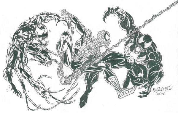 Carnage Spiderman And Venom By Bakura Lover On Deviantart