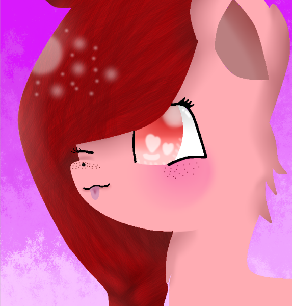 Pink/red Wolf by theshadowpony357