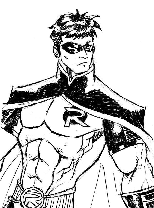 Line Drawing Robin : Robin sketch by kenpudiosaki on deviantart