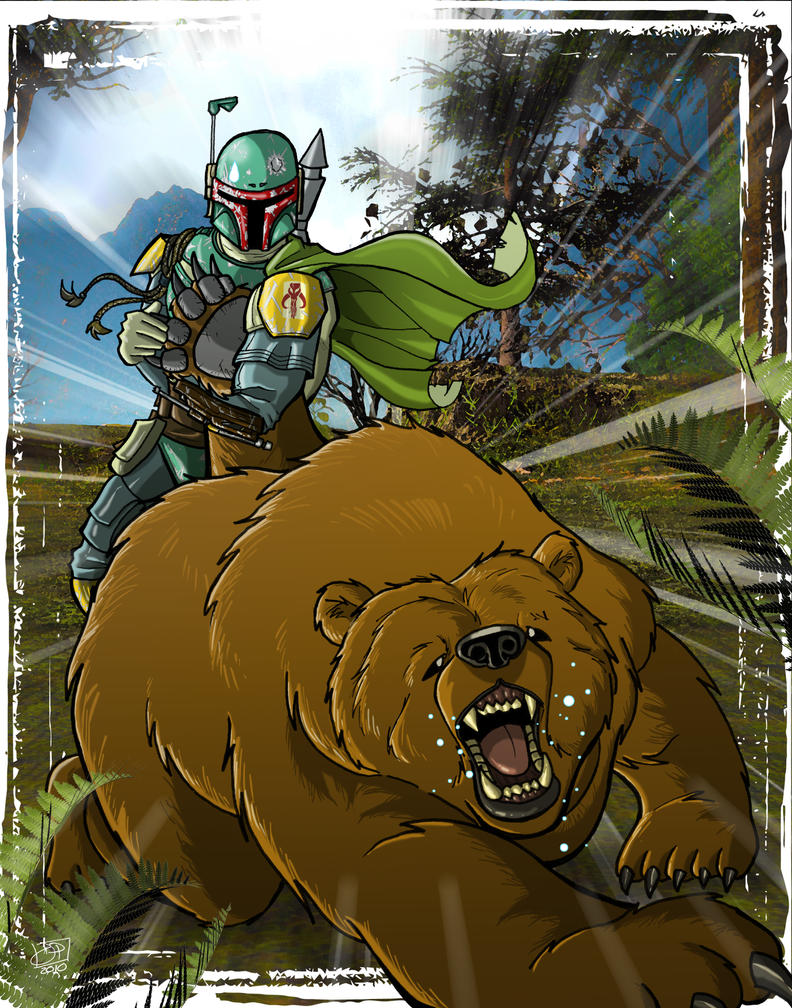 Boba Fett vs Grizzly Bear by Kenpudiosaki
