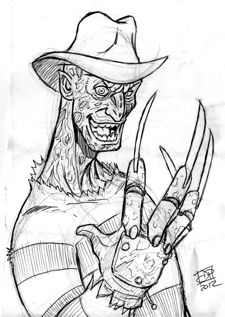 Freddy Krueger Coloring Pages Freddy sketch by kenpudiosaki