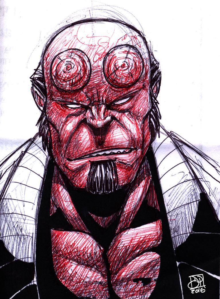 Hellboy Color Pen Doodle by Kenpudiosaki