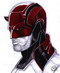 Daredevil Pen and Marker Sketch by Kenpudiosaki