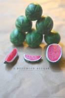 watermelons - 1:12 scale handmade miniature by TheMiniatureBazaar