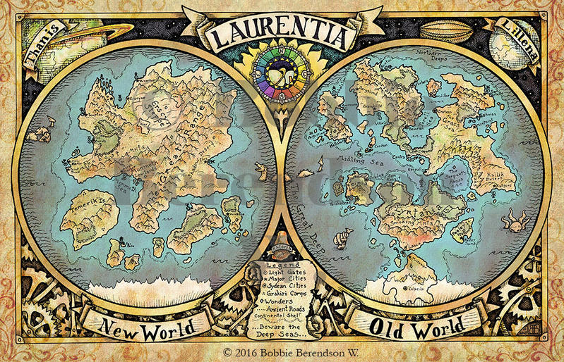 map of the steampunk world of laurentia by bobbieberendson