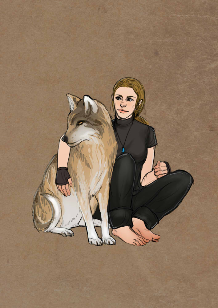 Mira with a wolf friend by Lysandr-a