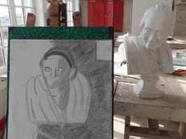 Graphite pencil sketch : Portait 2 ( Voltaire )