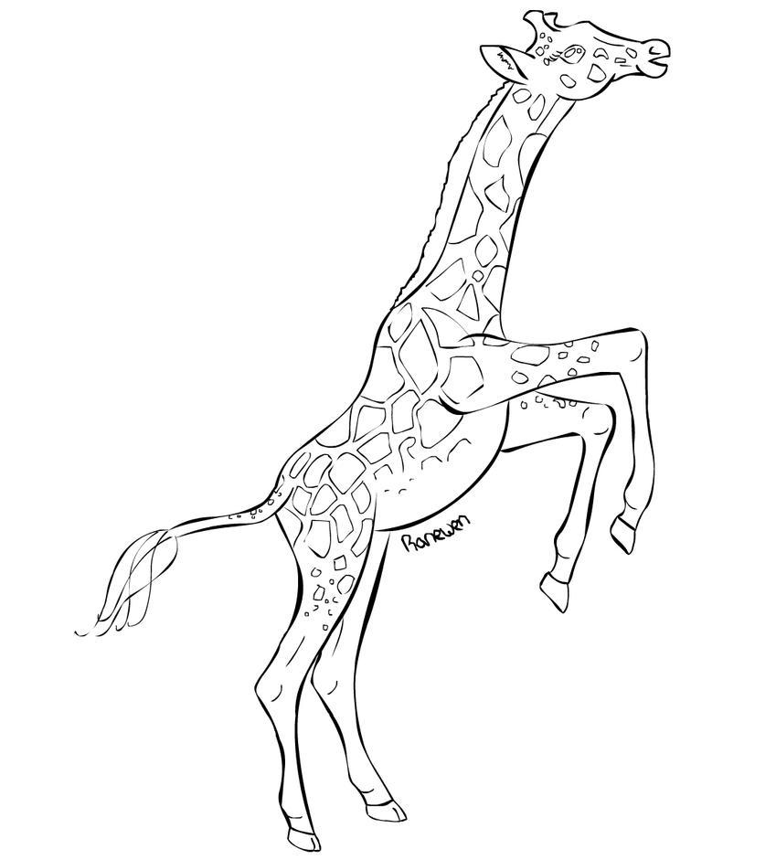 Line Drawing Giraffe : Giraffe lineart by ranewen on deviantart