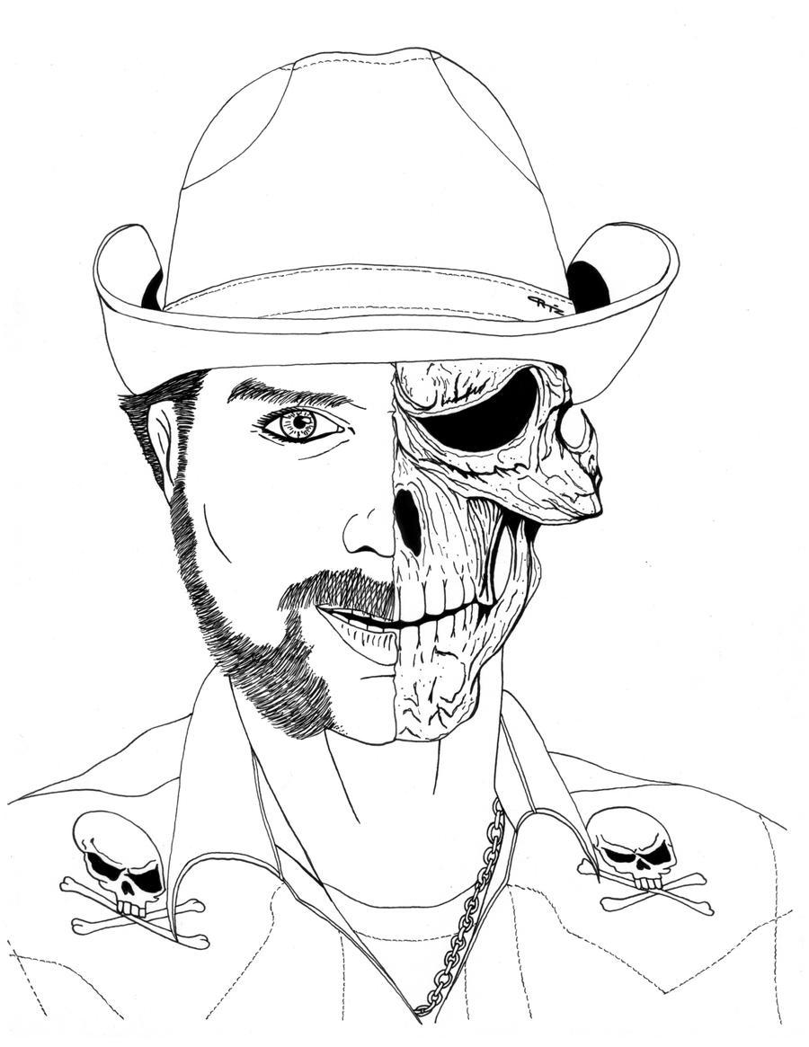 Skeleton Face Line Drawing : Half human skull commish by eso on deviantart