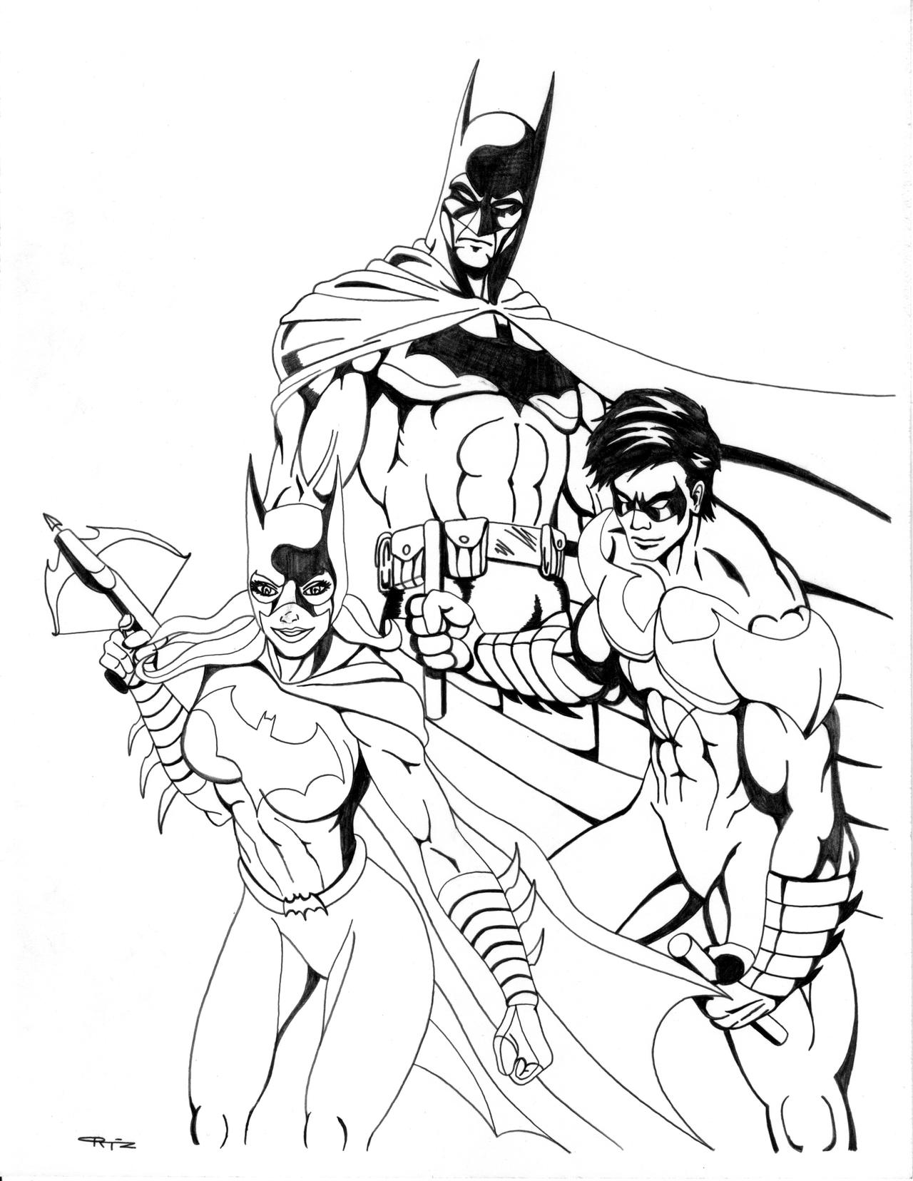 Comic book robin coloring pages ~ Batman Batgirl Nightwing Pencils by ESO2001 on DeviantArt