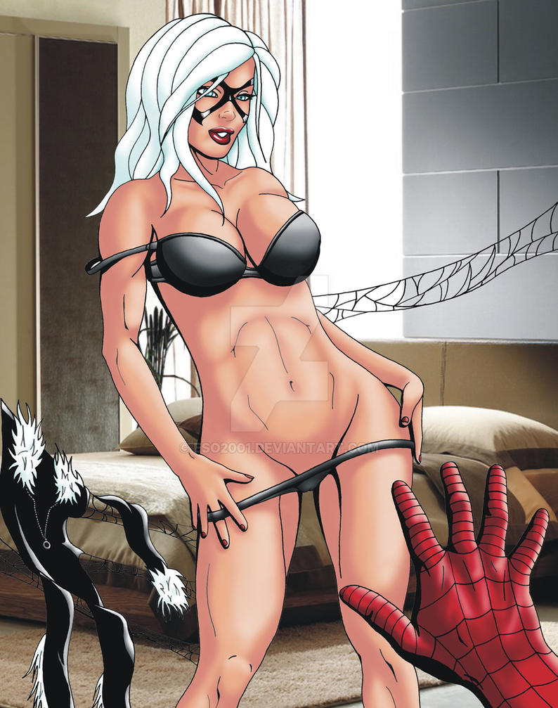 Black Cat Spidey Striptease Color by ESO2001