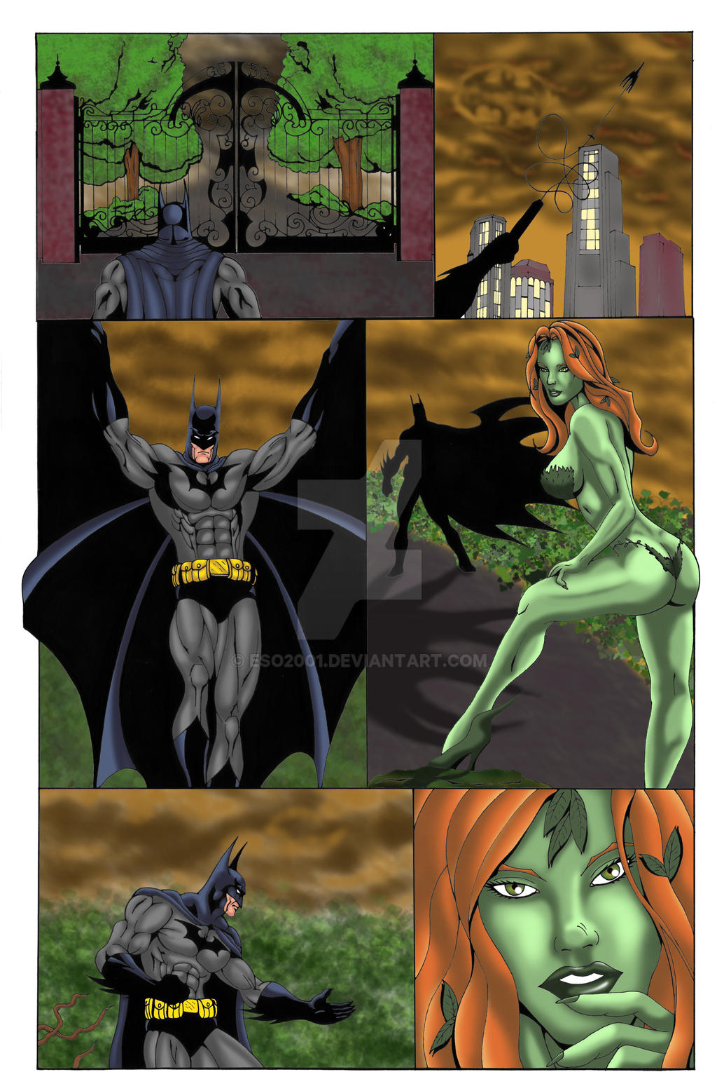 batman poison ivy comic commish page 1 colors by eso2001
