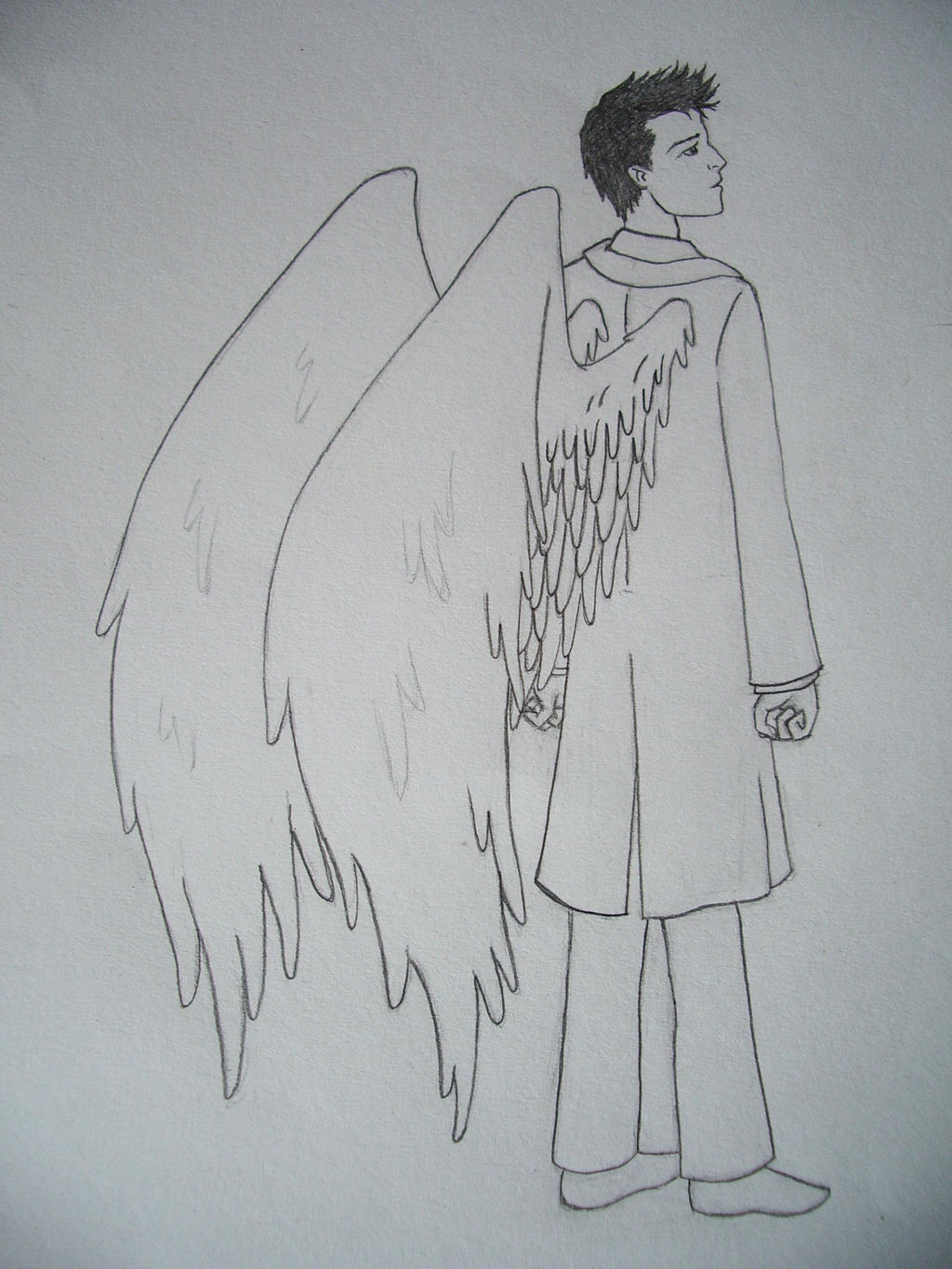 Castiel sketch by blackbirdrose