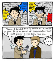 Castiel vs Phone Spam by blackbirdrose