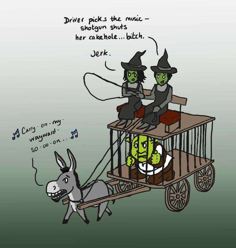 Shrek witches watch SPN by blackbirdrose