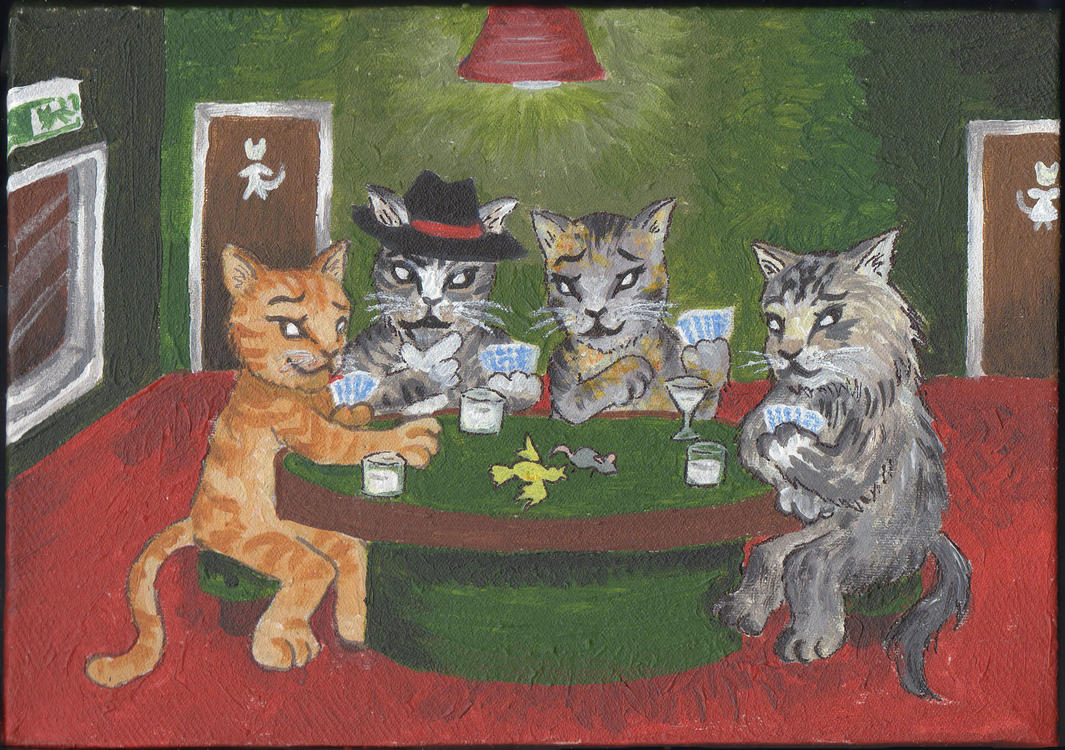 Painting of cats playing poker baccarat online curang