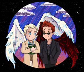 Crowley and Aziraphale: Winging It