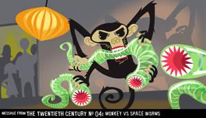Monkey vs space worms by Karelias