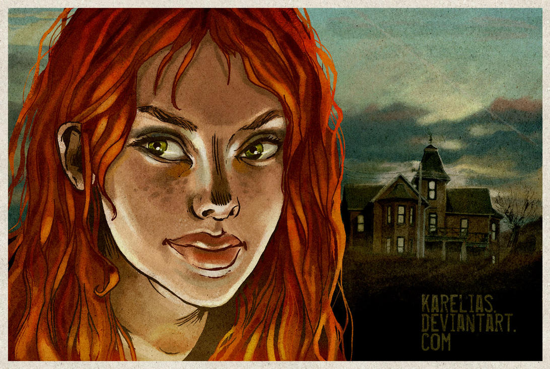 hill house and red hair girl by Karelias